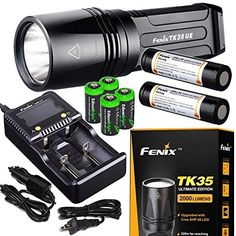 FENIX TK35 Ultimate Edition UE 2000 Lumen LED Tactical Flashlight with 2 X Fenix 18650 Liion rechargeable batteries 4 X EdisonBright CR123A Lithium batteries Charger bundle * Click image to review more details. This is an Amazon Affiliate links.
