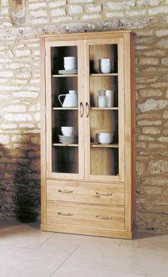 Hampshire Oak Large Glazed Display Cabinet