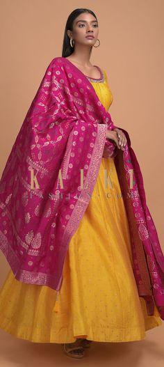 Dandelion Yellow Anarkali Suit With Sequins Embroidered Buttis And Rani Pink Banarasi Dupatta Online - Kalki Fashion Silk Kurti, Silk Dupatta, Wedding Salwar Kameez, Sharara Designs, Banarasi Lehenga, Dandelion Yellow, Indian Designer Suits, Full Sleeves, Anarkali Suits