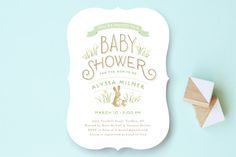 Springtime Bunnies Baby Shower Invitations