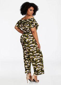 5aef8258038a Plus Size Ruffle Neck Off Shoulder Camo Print Jumpsuit. Ashley Stewart  offers a ...
