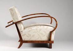 A single Art Deco armchair  by Jindrich Halabala, Spojene UP zavody  Walnut veneer  Brno, Czechoslovakia, c.1930