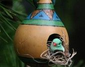 Rustic Birdhouse Gourd Ornament, Blue and Green Gourd Birdhouse, Miniature Bird House Gourds Birdhouse, Decorative Bird Houses, Little Birdie, Bluebirds, Southwest Style, Gourd Art, Make New Friends, Christmas Bulbs, Miniature