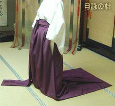Ein Beispiel für Nagabakama (Hakama mit sehr langen Beinen) - ganz sicher nicht dafür geschaffen, zu Fuß über die Straße zu gehen!  / This is a modern example for Nagabakama (very long hakama) - not made for walking on the road, for sure!