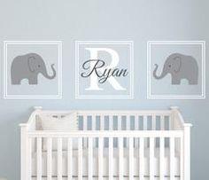 """Elephant Name Wall Decal Nursery Set - 22"""" each square"""
