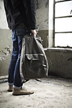 Vintage Style Canvas Bag, Selvedge jeans, and desert boots