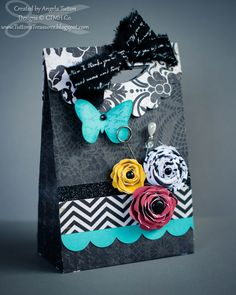 Close to My Heart For Always gift bag with NEW Textiles! Fabric spiral flower tutorial and fabric bow!