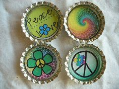 Audrey  Peace Man  Hippie Bottle Cap Magnets 2 by BuffaloCreekCrafts, $4.50