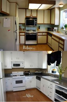They just added plain trim to the doors to look like shaker style cabinets Then painted the doors They just added plain trim to the doors to look like shaker style cabinets Then painted the doors Lena Schirra nbsp hellip cabinet makeover Shaker Style Cabinets, Old Kitchen Cabinets, Kitchen Cabinet Doors, Kitchen Redo, Kitchen Remodel, Rental Kitchen Makeover, Kitchen Ideas, Laminate Cabinet Makeover, Painting Laminate Cabinets