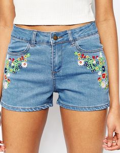 Brave Soul | Brave Soul Embroidered Denim Shorts at ASOS