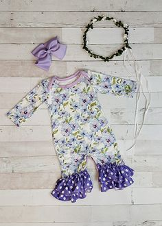 The Hair Bow Company | Morning Glories Ruffled Romper for Girls