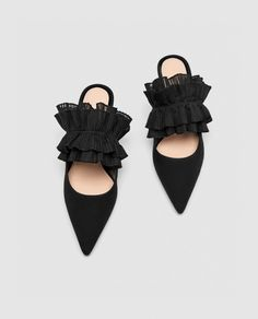 LEATHER MULE COURT SHOES WITH RUFFLES-View all-SHOES-WOMAN   ZARA United States