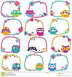 Cute Owl Frames Clip Art Set Stock Vector - Illustration of childlike, character: 51606519 Owl Classroom, Classroom Decor, Printable Planner, Planner Stickers, Portfolio Kindergarten, Owl Clip Art, School Frame, School Labels, Frame Clipart