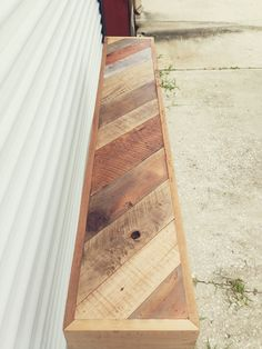 Reclaimed wood herringbone console table
