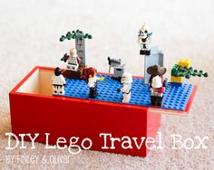 Get a wooden hobby box with handle, paint, glue a Lego board to the top and fill with Legos pieced inside. Great DIY travel toy for kids!