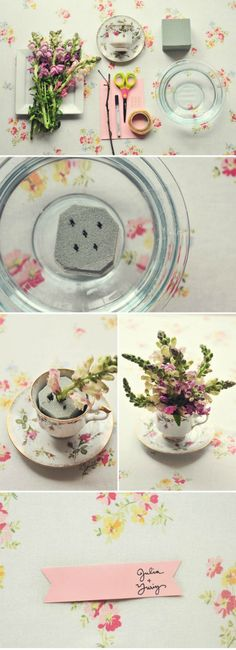 DIY - tea cup flower arrangements