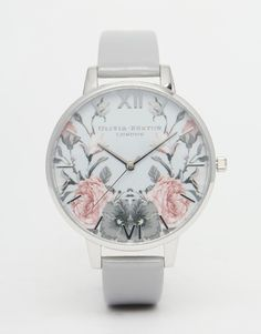 Olivia Burton Enchanted Garden Grey Patent Big Dial Watch