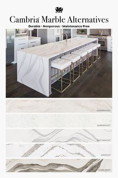 Unique Home Interior Use this Countertop Cheat Sheet to understand why to choose Cambria over marble countertops. The choice is obvious. Kitchen Cabinets Decor, Kitchen Redo, Home Decor Kitchen, Home Kitchens, Kitchen Remodel, Pig Kitchen, Kitchen Art, Kitchen Interior, Kitchen Dining