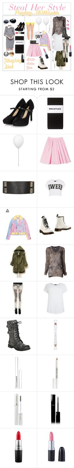 """""""Steal her Style: Hayley Williams - Salem"""" by outcast-tips ❤ liked on Polyvore featuring Whistles, Estiluz, Carven, Topshop, Dr. Martens, Avant Toi, shu uemura, NYX, Lord & Berry and Lancôme"""