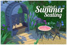 A couple more things for your gardens! An arbor and a mosaic bistro table!  The arbor comes in bright colours as well as black/white/grey.  The mosaic table has four designs - watermelon, orange, flamingos and a cactus.  Both are base game compatible....