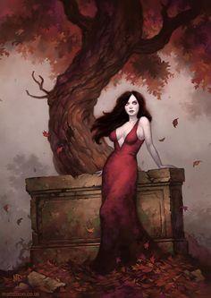 Matt Dixon pin-up girl picture - feels goth, pinup, and autumn to me. Gothic Fantasy Art, Fantasy Artwork, Vampires And Werewolves, Fairytale Fantasies, Goth Art, Pulp Art, Halloween Art, Horror Art, Dark Art