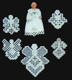 "Create six new angels in Hardanger Embroidery, just in time for the Holidays.  Five of the angels range in length from 3.5"" to 6"".  One of the angels is 3-dimensional with a porcelain head and hands and she is 6.25"" long.   Designer recommends using 25 count white Lugana (3256-100) with size 8 and 12 pearl cotton thread."
