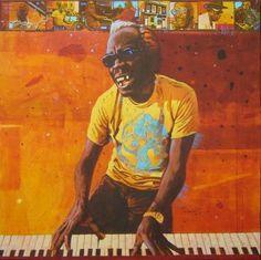 "Saatchi Art Artist Alan Kinsey; Painting, ""PROFESSOR LONGHAIR (sold)"" #art"