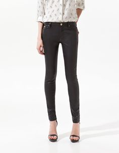 Zara black coating trousers