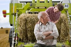 Farmer and grandson on tractor with straw Farmer, Tractors, Image, Pictures, Farmers