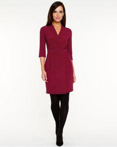 Le Chateau: Geo Print Mock Wrap Dress. Made in Canada.