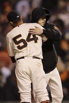 Tim LIncecum celebrates with Sergio Romo after the Giants' win - July 31, 2012  OHHHHH <3