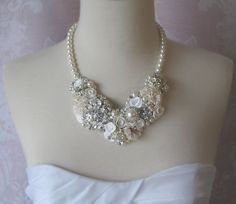 Bridal Statement Necklace Pearl and Rhinestone by TheRedMagnolia Cream Wedding, Bridal Jewelry, Pearl Necklace, Crafty, Pearls, Future, Diamond, Fashion, String Of Pearls
