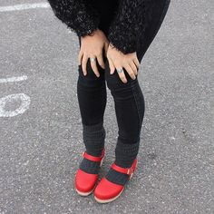 high wood red clogs Lotta From Stockholm