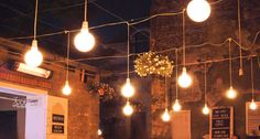 Lights at a roof cafe in Belgrade, Serbia