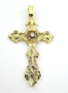 1611056046779 14KT SOLID YELLOW GOLD PENDANT CROSS 6.7 GRAMS 1 DIAMOND .05 CARAT  RELIGIOUS  Pendant