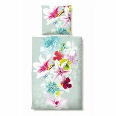 Biberna Mako-Satin Bettwäsche Flowers green online kaufen