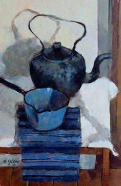 'Black kettle blue pan' by Scottish painter George Gordon RSW (b.1943). via Bill Cliffe Gallery