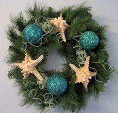Beach Decor Christmas Wreath - Nautical Decor Holiday Wreath w White Starfish, 24in. $65.00, via Etsy.