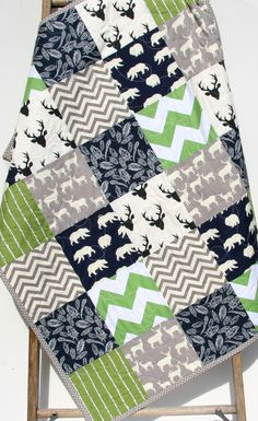 Rustic Woodland Quilt, Baby Boy Toddler Green Navy Blue Deer Stag