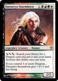 Bajo una Taiga y ya tengo el bosque! Cojonudo! Con cuatro tierras dobles en mesa voy a bajar un 2/2 de cuarto turno. Así, en el quinto con su pasmosa habilidad de buscar dragones podré llevarme uno a la mano. ¡Genial! Una pregunta al dibujante graciosillo: ¿Cuando Daenerys se gire al atacar podré desnudarla y ofrecérsela a un Dothraki para que la ponga mirando a Vae Dothrak? Si no, vaya mierda de carta.
