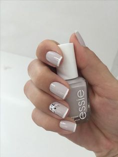 Nails art grey essie 26 Ideas for 2019 French Nail Designs, Nail Art Designs, Nails Design, Short Nail Designs, Cute Nails, Pretty Nails, Hair And Nails, My Nails, Nagellack Design