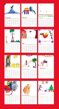kalender afprinten en kinderen laten tekenen