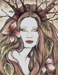 Druantia... Queen of the Druids, Celtic Fir Goddess, and Mother of the tree calender. Symbolizes protection, knowledge, creativity, passion, sex, fertility, growth, trees and forests. Her feast day is Beltane.