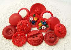 Retro Red Vintage Red Floral Lace Plastic Button by Alyssabeths, $7.00
