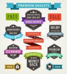 Vector vintage sale labels and ribbons set design elements Royalty Free Stock Vector Art Illustration