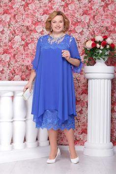 Нарядные платья и платья-двойки для полных женщин белорусской компании Ninele, весна 2017