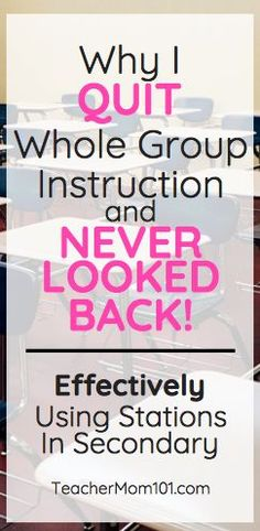 Why I QUIT Whole Group Instruction If something isnt working change it Immediately Teacher Mom 101 Co Teaching, Teaching Strategies, Teaching English, Teaching Secondary, Teaching Science, Science Activities, Science Projects, Science Experiments, Instructional Strategies