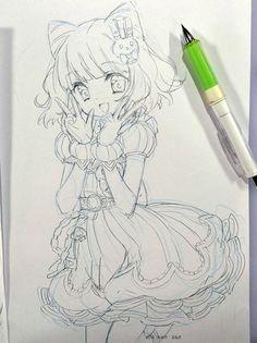 프리파라 픽시브 사진! : 네이버 블로그 Anime Girl Drawings, Manga Drawing, Manga Art, Cute Drawings, Drawing Sketches, Art Anime, Anime Art Girl, Anime Chibi, Manga Anime