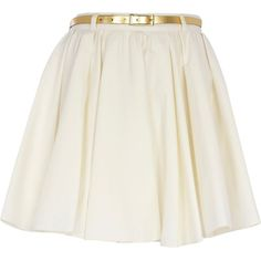 River Island Cream Belted Skater Skirt