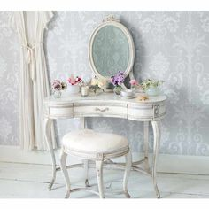 Delphine Distressed Shabby Chic Dressing Table - French Bedroom Dressing Table